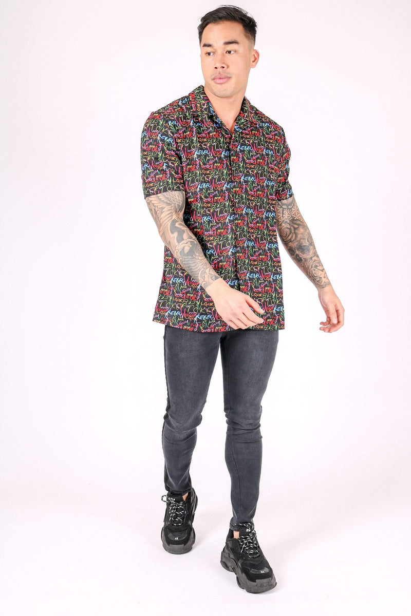 DOWNTOWN GRAFFITI PRINTED REVERE COLLAR SHIRT - Liquor N Poker  Liquor N Poker