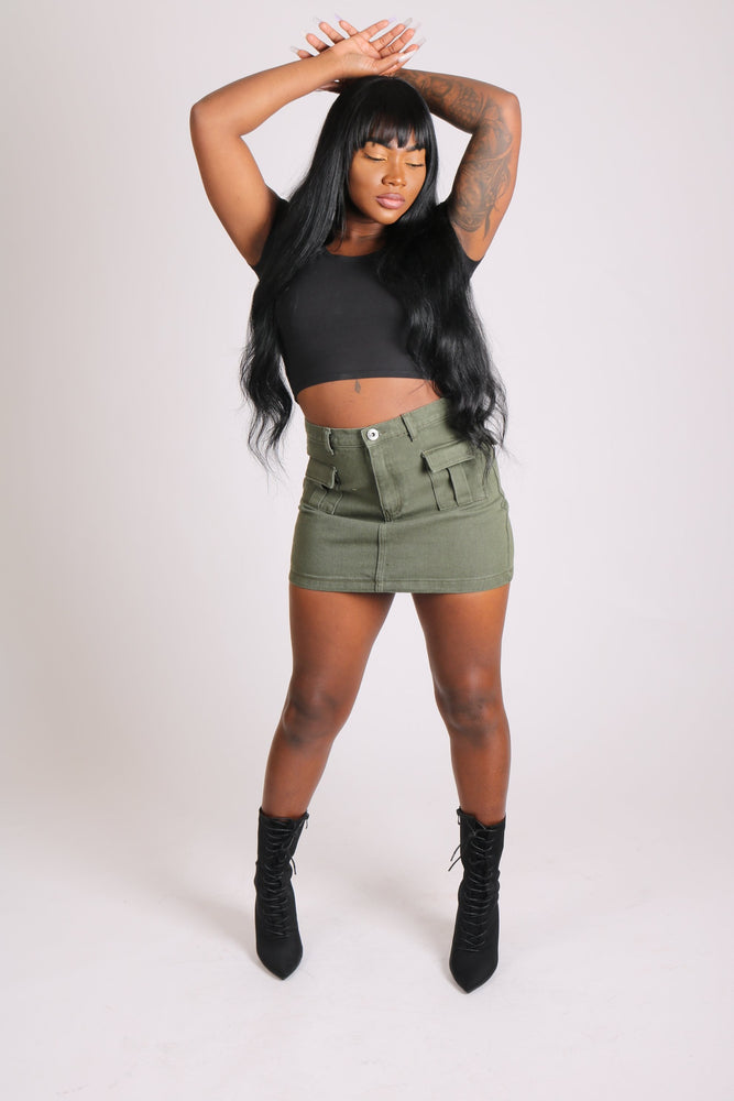 Liquor n Poker military pocket denim skirt in khaki - Liquor N Poker  LIQUOR N POKER