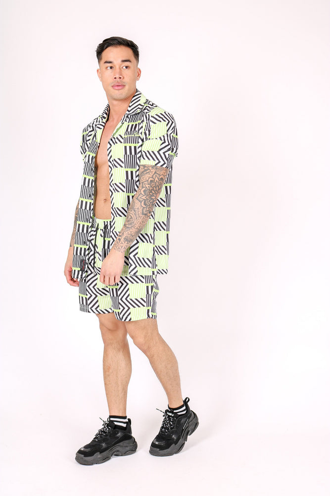 REVERE COLLAR SHIRT IN GEOMETRIC LIME PRINT - Liquor N Poker  LIQUOR N POKER