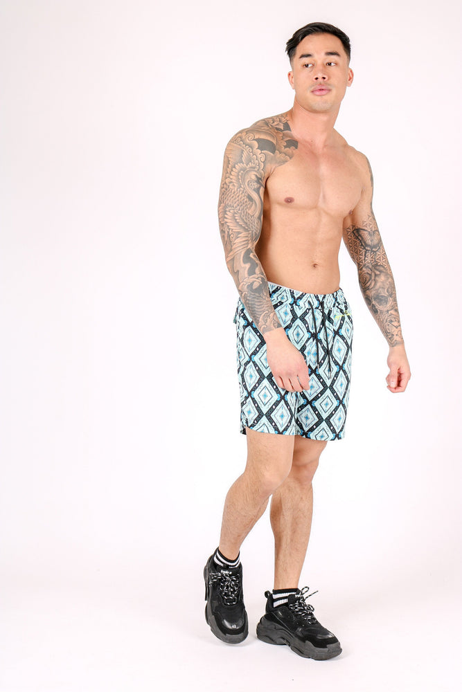 RELAXED FIT SHORTS WITH DIAMOND PRINT - Liquor N Poker  LIQUOR N POKER