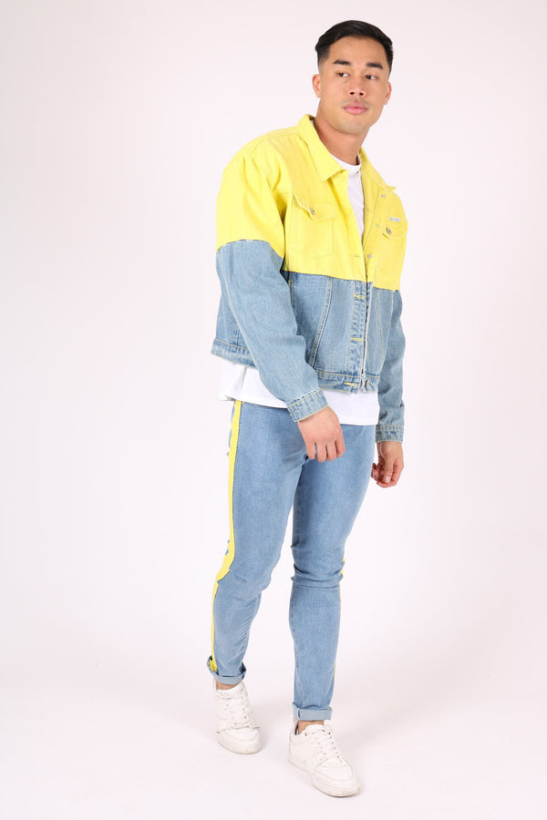 Oversized denim jacket half yellow half indigo