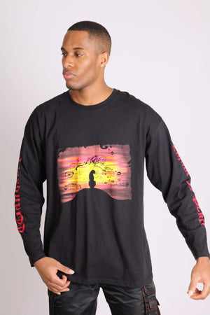 Load image into Gallery viewer, Wanderer long sleeve t shirt with safari print in black - Liquor N Poker  LIQUOR N POKER