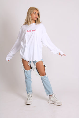 Load image into Gallery viewer, Solo girl long sleeve t-shirt with safari print in white - Liquor N Poker  LIQUOR N POKER