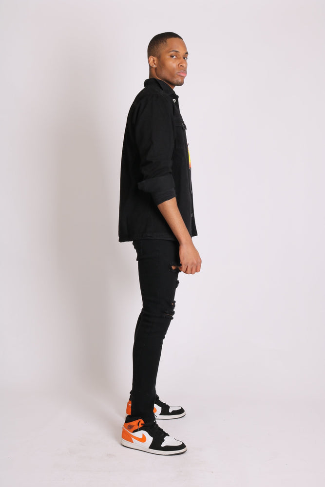 Liquor n Poker relaxed denim worker shirt in black - Liquor N Poker  LIQUOR N POKER