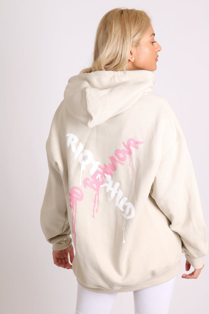 Riot child unisex hoody in sand in relaxed fit - Liquor N Poker  LIQUOR N POKER