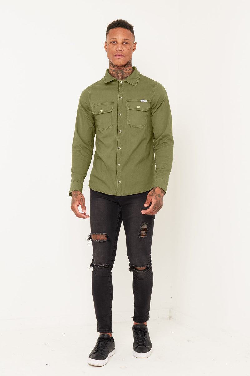 Liquor n Poker Muscle fit stretch denim shirt in Khaki