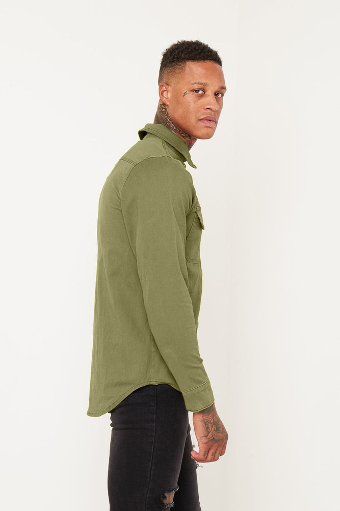 Liquor n Poker Muscle fit stretch denim shirt in Khaki - Liquor N Poker  LIQUOR N POKER