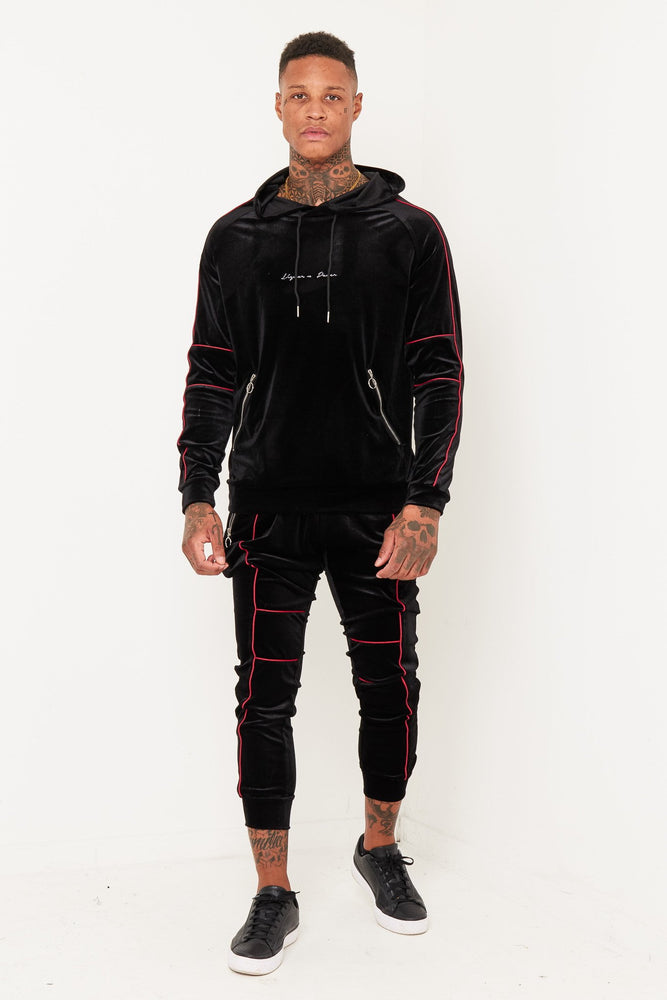 PATROL BLACK VELOUR TRACKSUIT WITH CONTRAST PIPING