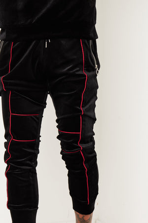 PATROL BLACK VELOUR TRACKSUIT WITH CONTRAST PIPING - Liquor N Poker  LIQUOR N POKER