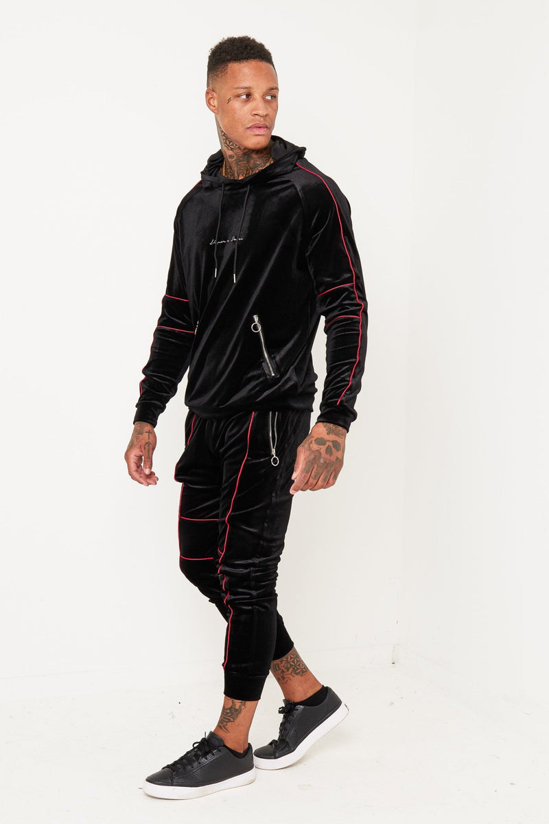 BALLER BLACK VELOUR TRACKSUIT WITH CONTRAST PIPING - Liquor N Poker  Liquor N Poker