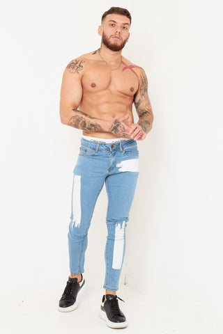 Logan Skinny jean with faded patchwork in stretch denim