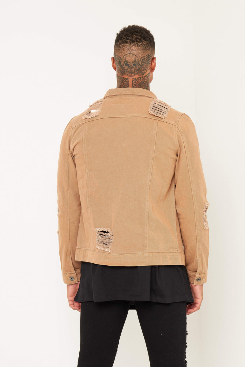Norton Denim Jacket In Tan With Distressing