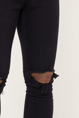 Logan Skinny Stretch Jeans In Light Black Twill With Ripped Knees - Liquor N Poker  LIQUOR N POKER