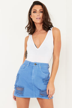 DAKOTA MINI DENIM SKIRT WITH DISTRESSING IN SKY BLUE - Liquor N Poker  Liquor N Poker