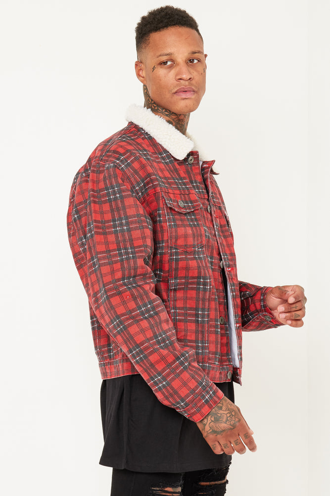 CLEVELAND RED TARTAN CHECKERED DENIM JACKET WITH BORG COLLAR - Liquor N Poker  Liquor N Poker