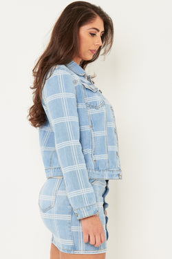 Delaware Cropped Denim jacket in checkered print - Liquor N Poker  Liquor N Poker