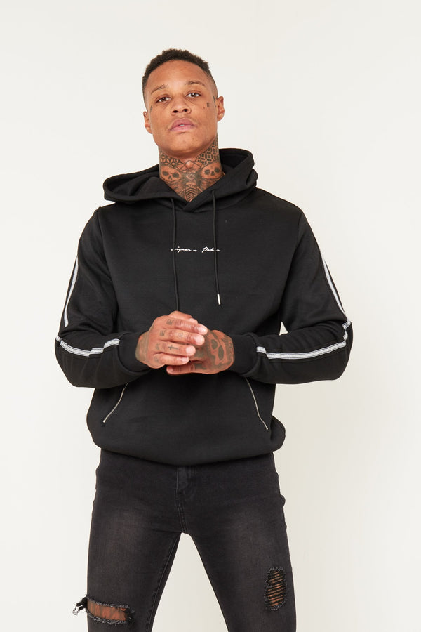 Baller black hoody with side stripe - Liquor N Poker  Liquor N Poker