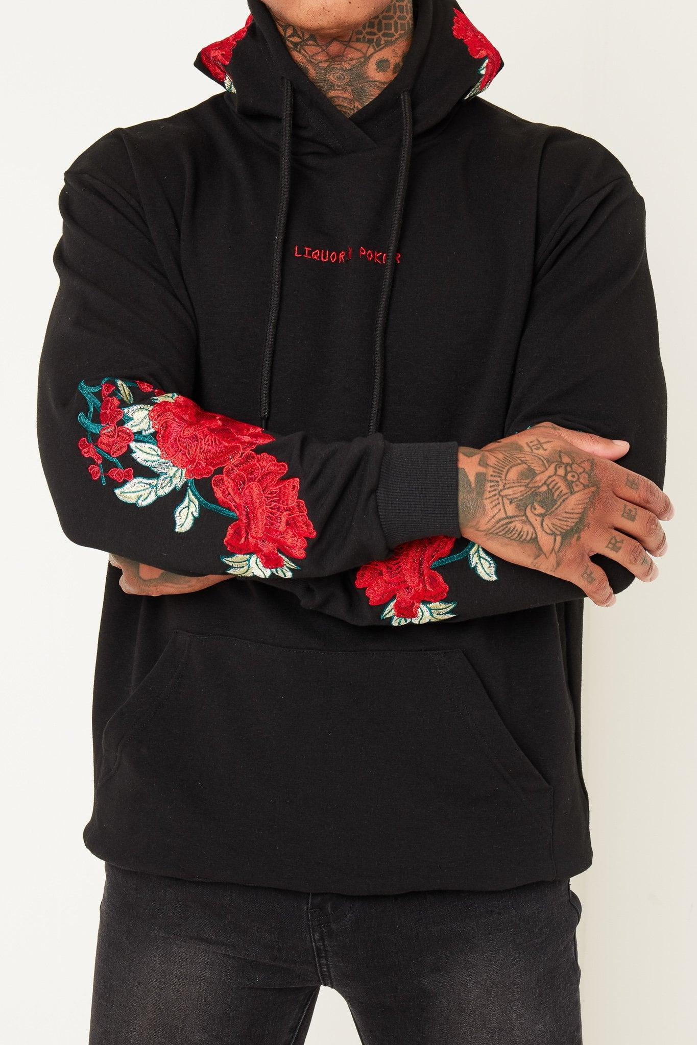 ROMEO OVERSIZED HOODY WITH ROSE EMBROIDERY