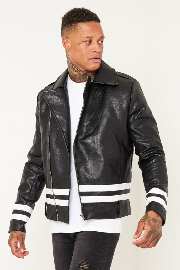 Kansas Faux Leather Jacket with paint stripe - Liquor N Poker  Liquor N Poker