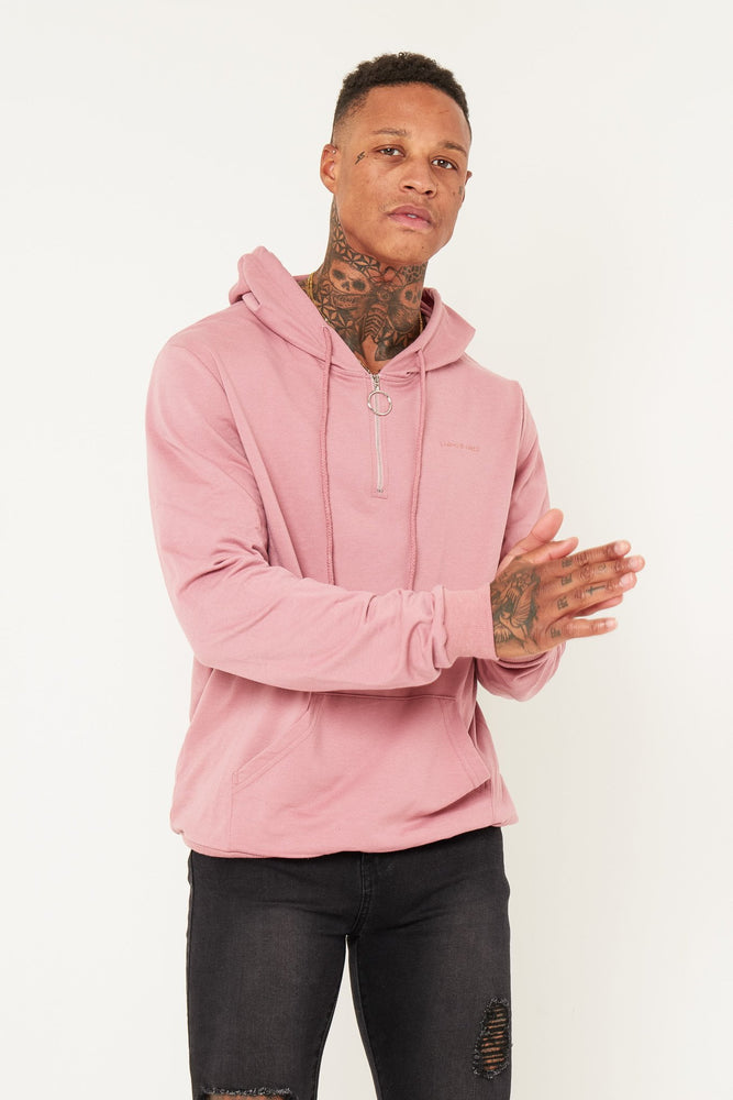 BAKERFIELD CLASSIC HOODY WITH O RING ZIPPER IN PINK