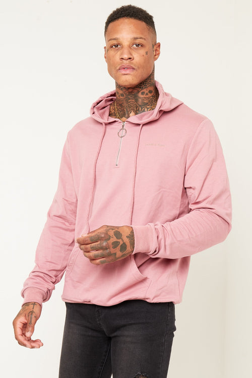 BAKERFIELD CLASSIC HOODY WITH O RING ZIPPER IN PINK - Liquor N Poker  Liquor N Poker