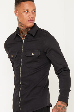 MUSCLE FIT BLACK DENIM SHIRT WITH ZIP - Liquor N Poker  LIQUOR N POKER