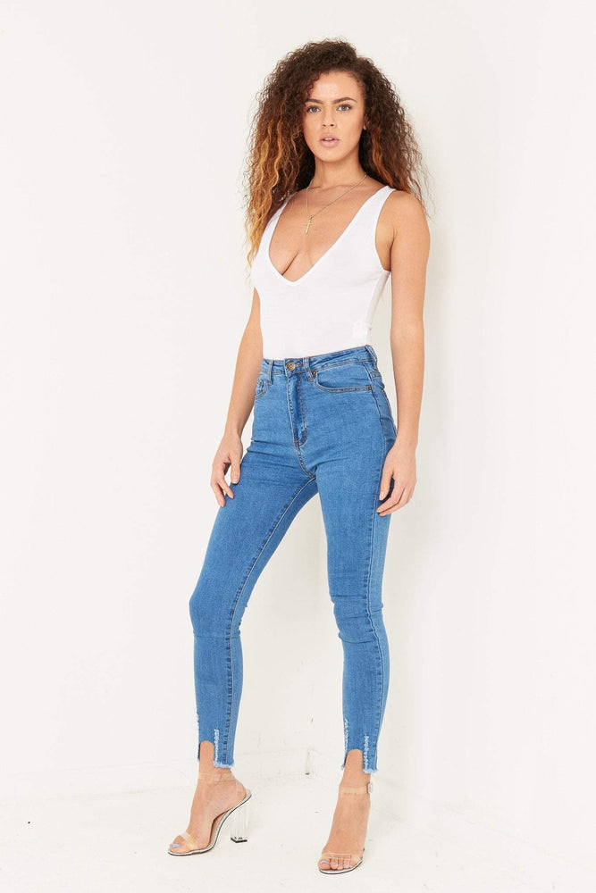 Detroit blue high rise skinny with raw hem