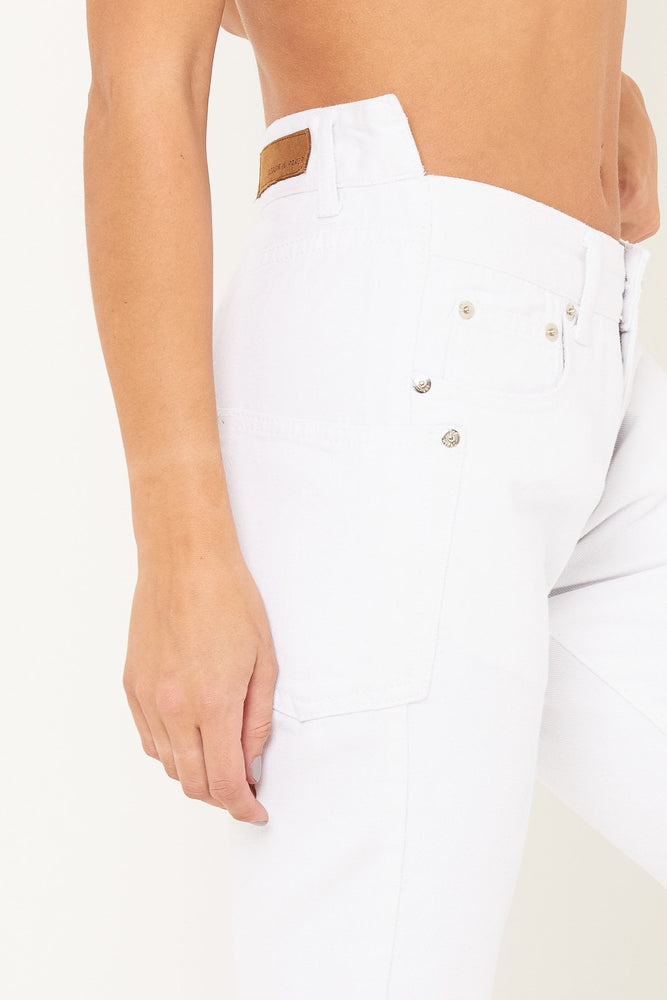 MIDORI WHITE BOYFRIEND JEANS WITH STEP HEM - Liquor N Poker  LIQUOR N POKER