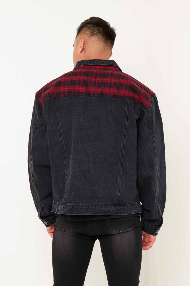 OVERSIZED RED TARTAN PATCH DENIM JACKET IN WASHED BLACK