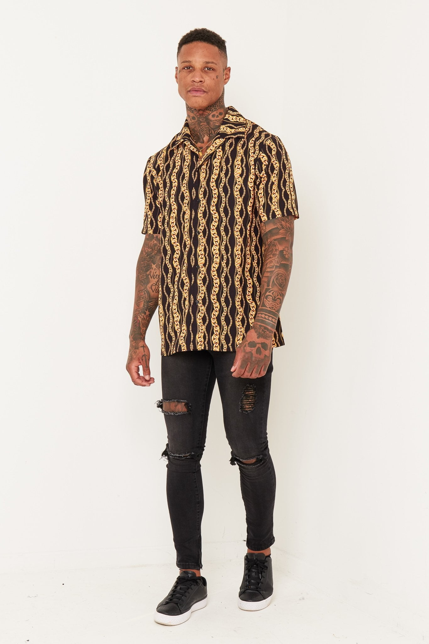 REVERE SHIRT REPEATED GOLD CHAIN OVERSIZED RELAXED SHIRT