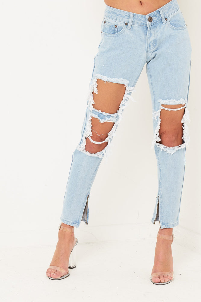 Rebel Stonewash Slashed Skinnies - Liquor N Poker  LIQUOR N POKER