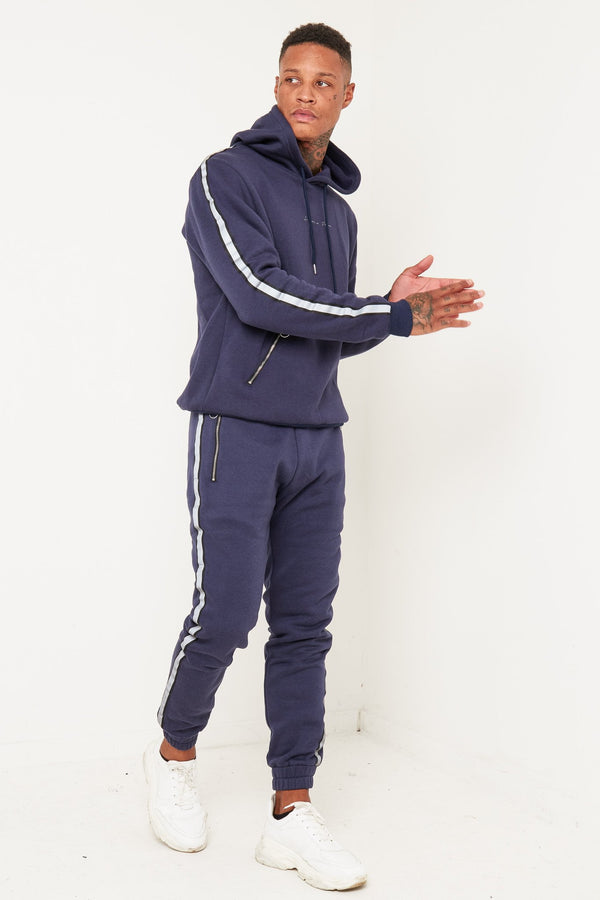 Baller navy tracksuit with side stripe - Liquor N Poker  Liquor N Poker