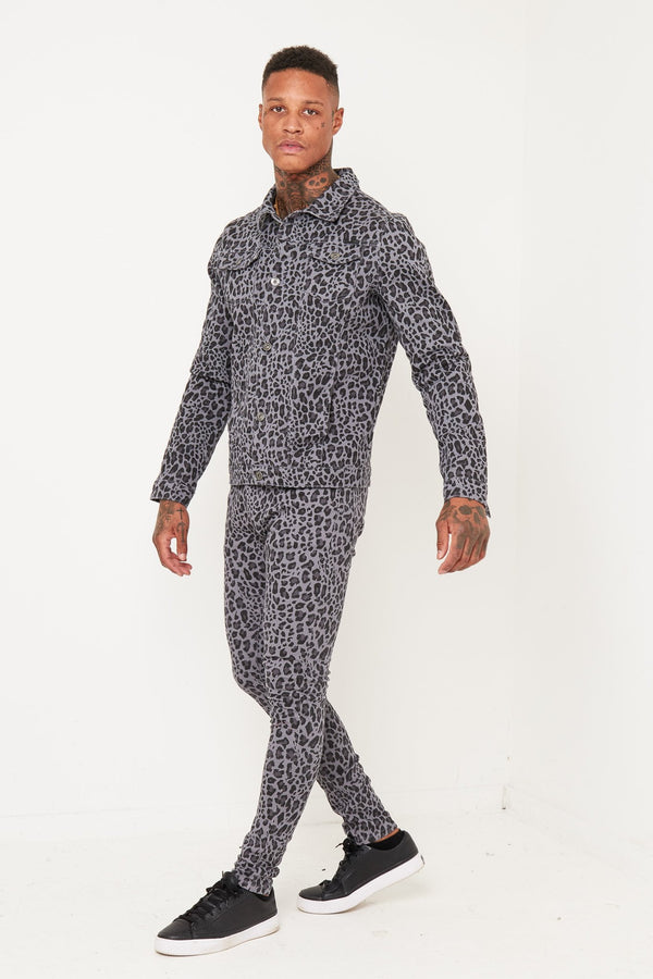 Spicey Grey Leopard Printed Denim Co-ord