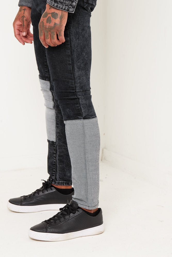 Logan Skinny jean with faded patchwork in stretch denim - Liquor N Poker  Liquor N Poker