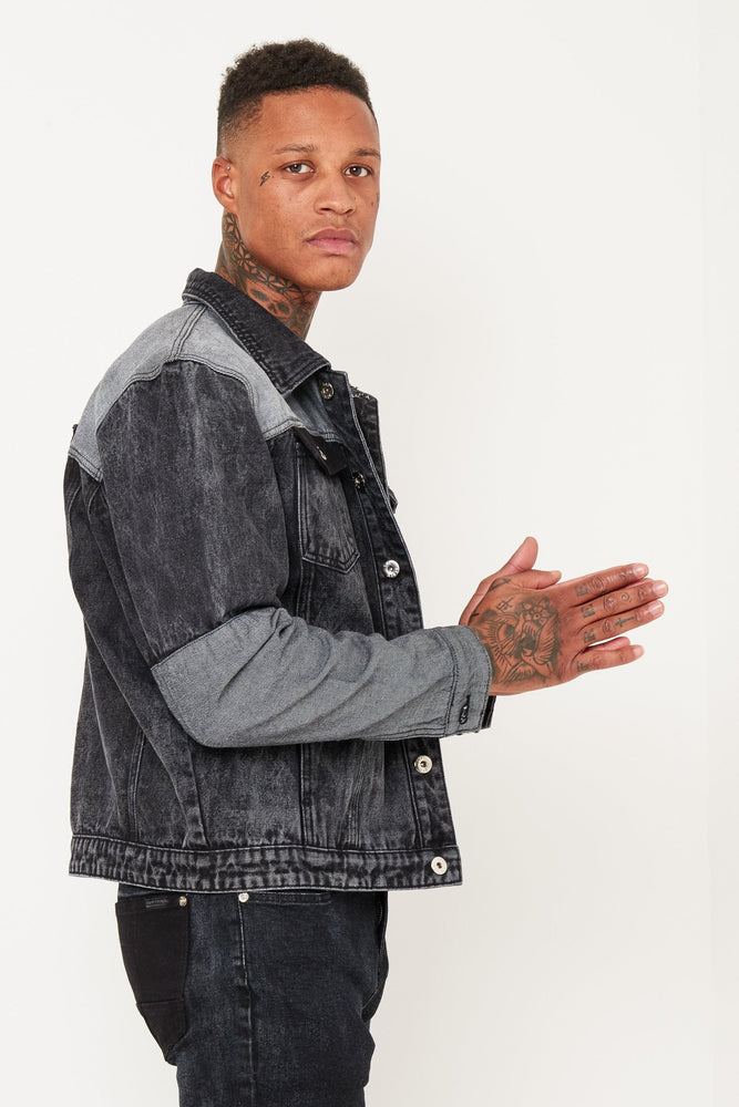 Jaden oversized Denim Jacket with patchwork - Liquor N Poker  Liquor N Poker