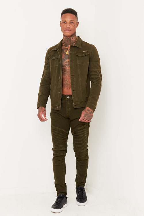 KHAKI BIKER DENIM CO-ORD - Liquor N Poker  Liquor N Poker