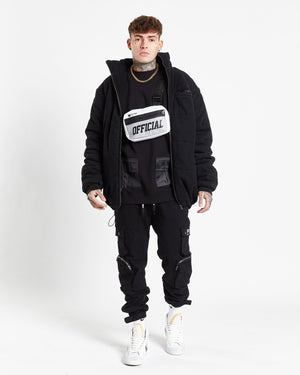 Load image into Gallery viewer, No boundaries denim puffa jacket in black