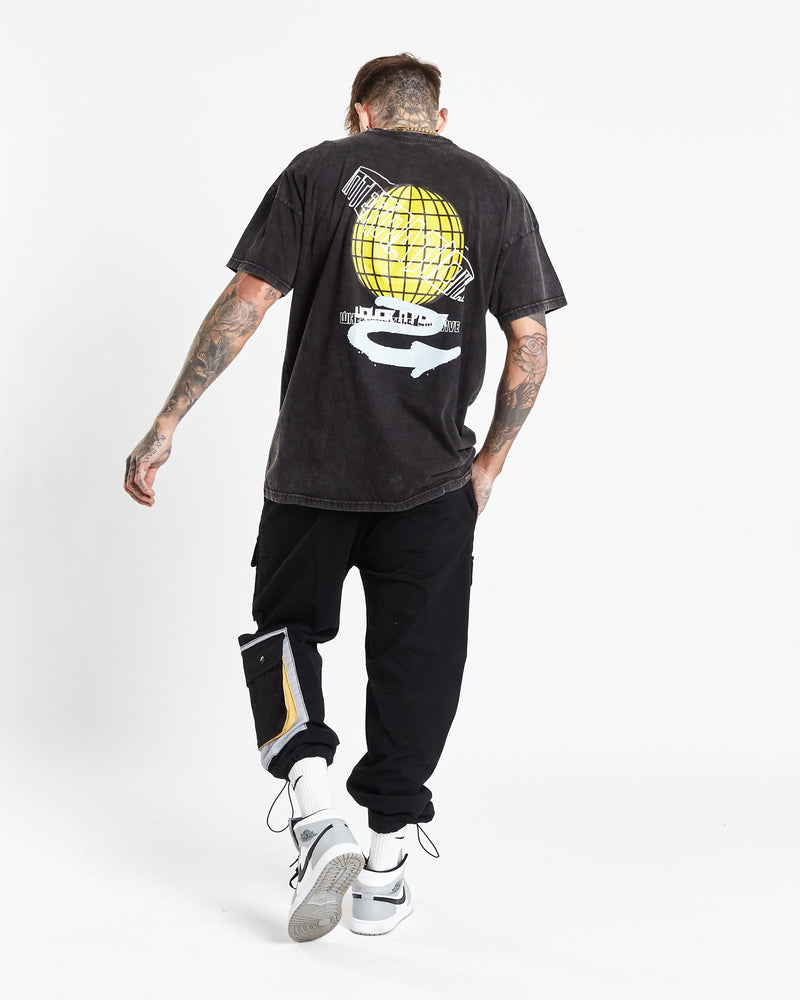 Load image into Gallery viewer, Liquor n Poker - Global skate print t shirt in acid washed black