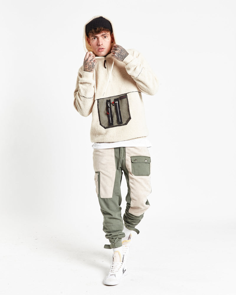 Alaska borg hoody with mesh pocket in light cream