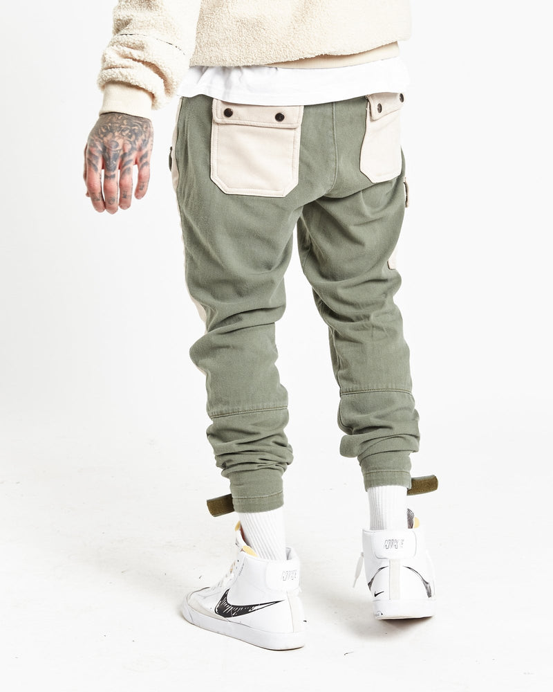Military relaxed cargo trousers with stone suede patch