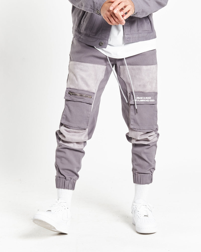 Faro utility trousers in dusty grey with suede panels