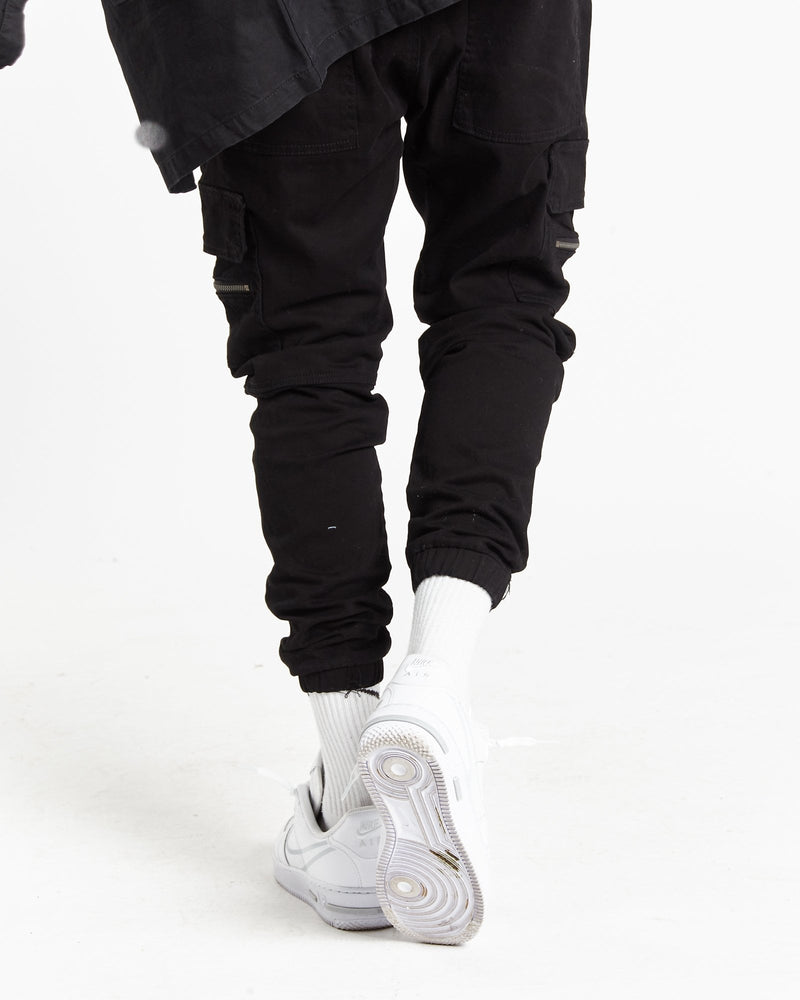 Load image into Gallery viewer, Fort utility trousers in black twill denim