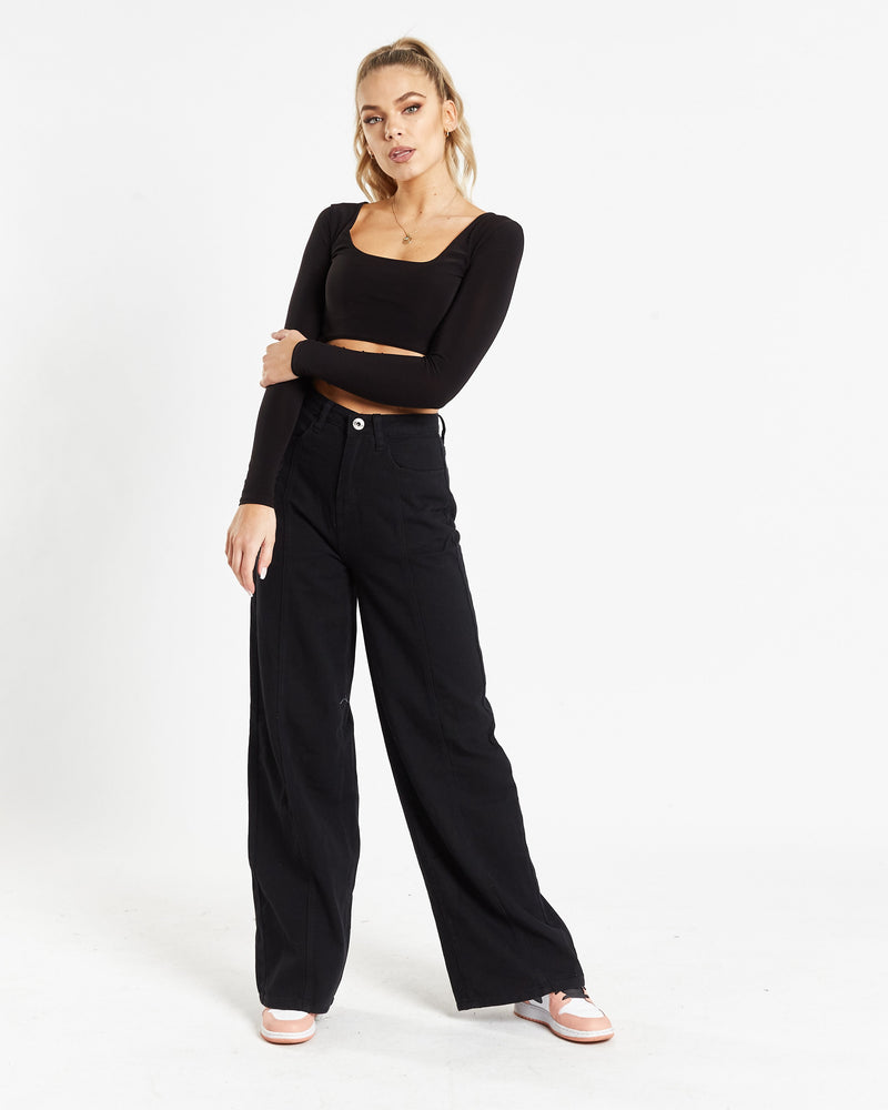Load image into Gallery viewer, Cairo wide leg jeans in black denim