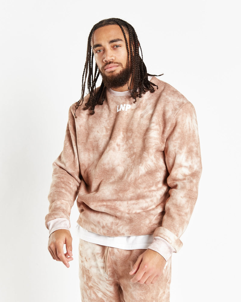 Candy relaxed sweater in mocha tie dye in unisex fit