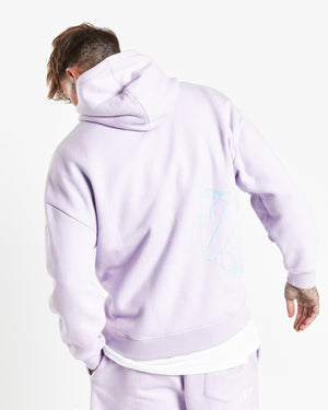 Illustrated faces relaxed hoody in lilac