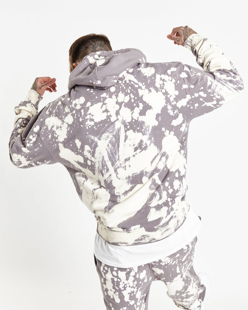 Alaska tie dye hoodie in cool grey bleach wash