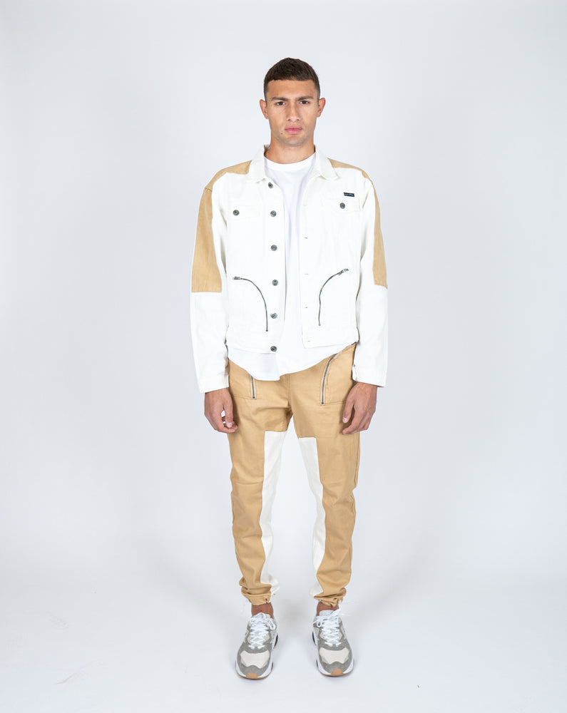Liquor n Poker - detroit denim jogger in tan with panelwork
