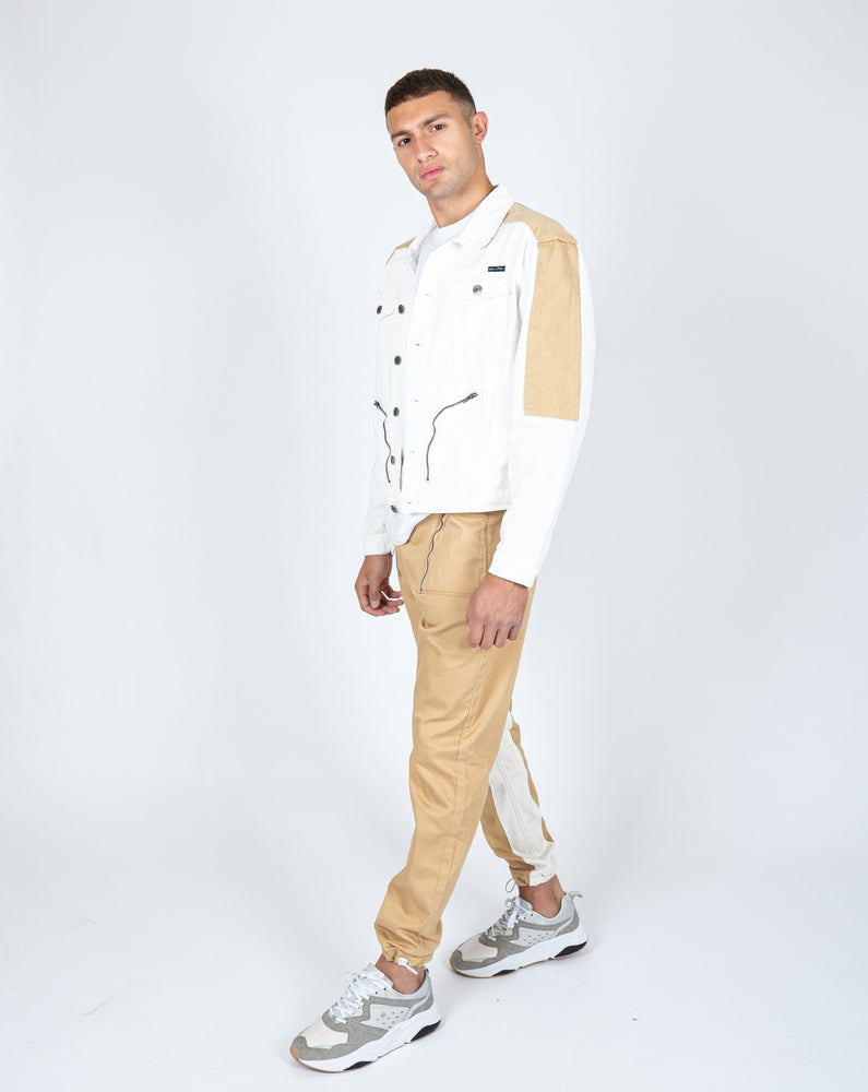 Load image into Gallery viewer, Liquor n Poker - detroit denim jogger in tan with panelwork