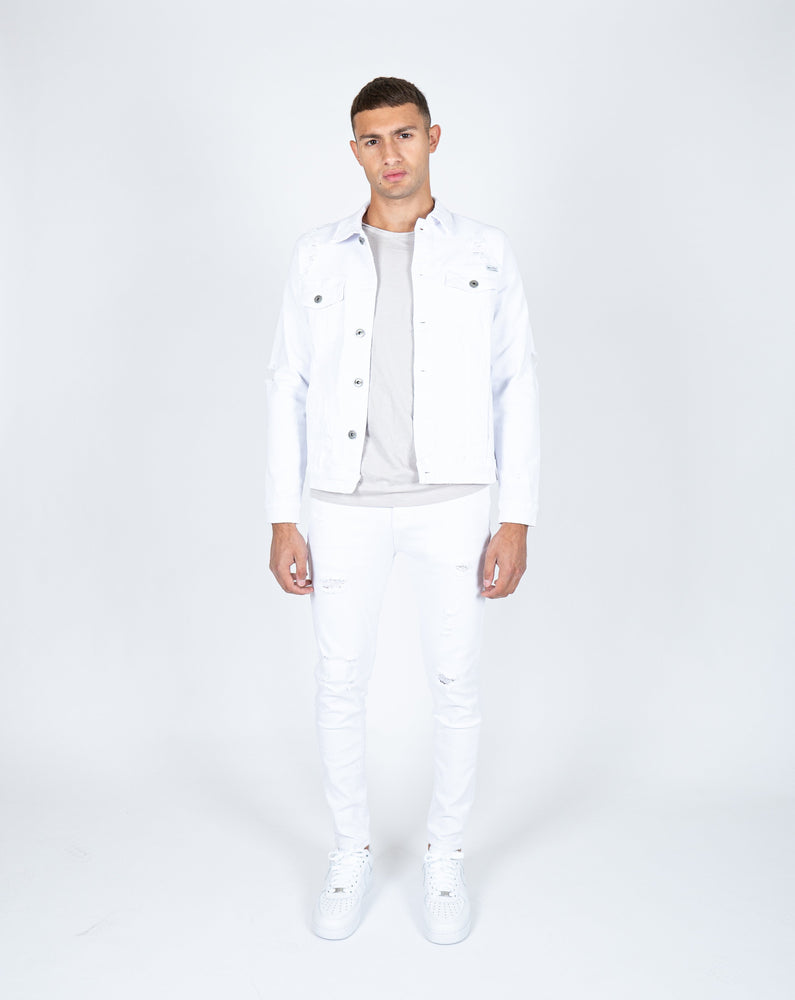 Liquor n Poker - Logan distressed white skinnies