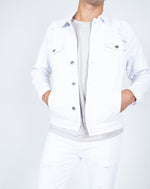 Liquor n Poker - White distressed denim jacket in muscle fit